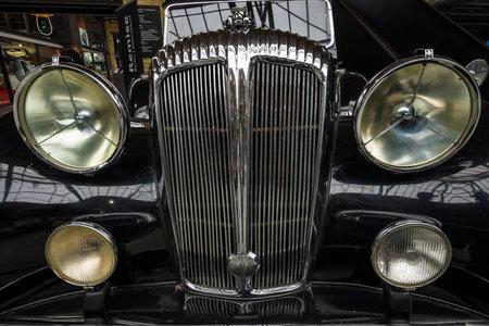 daimler: BERLIN - MAY 10, 2015: Fragment of a luxury car Daimler DE 36 (Straight-Eight Hooper Landaulet), 1949. 28th Berlin-Brandenburg Oldtimer Day Editorial