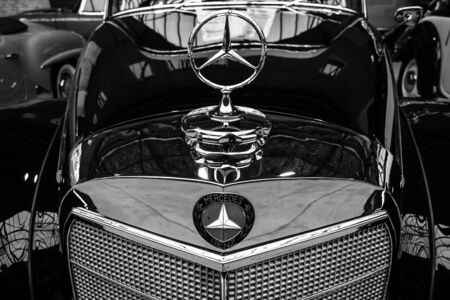 benz: BERLIN - MAY 10, 2015: Fragment of a limousine Mercedes-Benz 300 S Cabriolet (W 188 I), 1953. Black and white. Produced 203 cars. 28th Berlin-Brandenburg Oldtimer Day Editorial