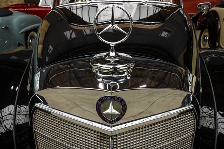 BERLIN - MAY 10, 2015: Fragment of a limousine Mercedes-Benz 300 S Cabriolet (W 188 I), 1953. Produced 203 cars. 28th Berlin-Brandenburg Oldtimer Day Editorial