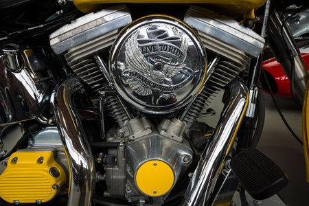 twin engine: BERLIN - MAY 10, 2015: The Harley-Davidson Twin Cam engine close-up. 28th Berlin-Brandenburg Oldtimer Day