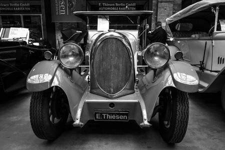 BERLIN - MAY 10, 2015: Vintage car of the German manufacturer NAG D4 1045 Pharton. Black and white. 28th Berlin-Brandenburg Oldtimer Day