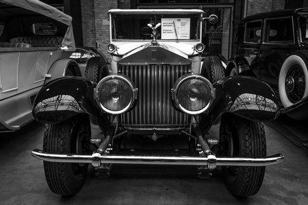 phantom: BERLIN - MAY 10, 2015: Vintage car Rolls-Royce Phantom I, 1927. Black and white. The 28th Berlin-Brandenburg Oldtimer Day