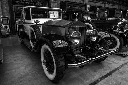 BERLIN - MAY 10, 2015: Vintage car Rolls-Royce Phantom I, 1927. Black and white. The 28th Berlin-Brandenburg Oldtimer Day