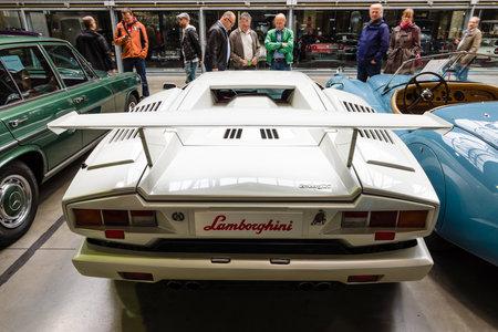 lamborghini: BERLIN - MAY 10, 2015: A mid-engined supercar Lamborghini Countach LP 25th Anniversary, 1990. Rear view. 28th Berlin-Brandenburg Oldtimer Day