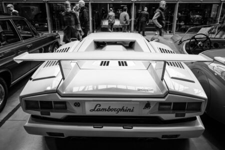 lamborghini: BERLIN - MAY 10, 2015: A mid-engined supercar Lamborghini Countach LP 25th Anniversary, 1990. Rear view. Black and white. 28th Berlin-Brandenburg Oldtimer Day