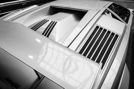 supercar: BERLIN - MAY 10, 2015: Air vents a mid-engined supercar Lamborghini Countach LP 25th Anniversary, 1990. Black and white. 28th Berlin-Brandenburg Oldtimer Day