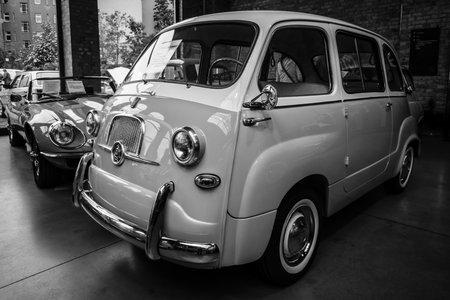 mpv: BERLIN - MAY 10, 2015: Mini MPV (multi-purpose vehicle) Fiat 600 Multipla. Black and white. 28th Berlin-Brandenburg Oldtimer Day Editorial