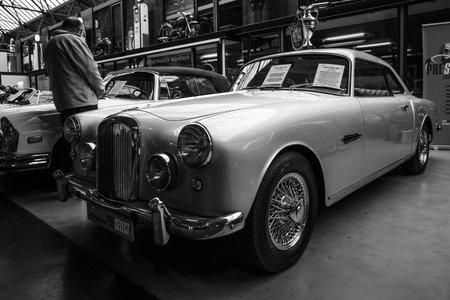 mk: BERLIN - MAY 10, 2015: British sports saloon Alvis TD 21 Mk I, 1960. Black and white. 28th Berlin-Brandenburg Oldtimer Day Editorial