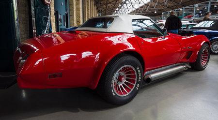 corvette: BERLIN - MAY 10, 2015: Sports car Chevrolet Corvette (C3) Stingray Convertible. 28th Berlin-Brandenburg Oldtimer Day