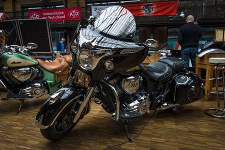 chieftain: BERLIN - MAY 10, 2015: Motorcycle Indian Chieftain (2014-present). 28th Berlin-Brandenburg Oldtimer Day