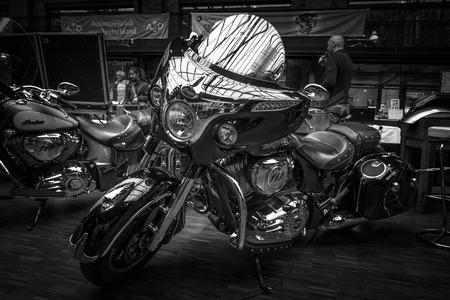 chieftain: BERLIN - MAY 10, 2015: Motorcycle Indian Chieftain (2014-present). Black and white. 28th Berlin-Brandenburg Oldtimer Day