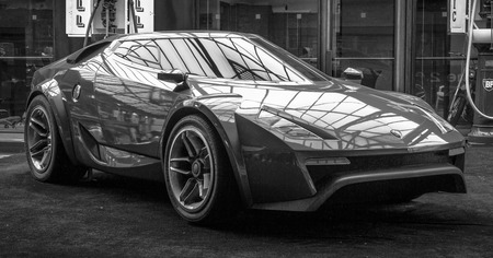 BERLIN - MAY 10, 2015: Concept car Lancia New Stratos by Fenomenon, designed by Christian Hrabalec, 2005. Black and white.  The 28th Berlin-Brandenburg Oldtimer Day