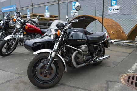 sidecar: BERLIN - MAY 10, 2015: Vintage motorcycle with sidecar Moto Guzzi 850T3, 1975. The 28th Berlin-Brandenburg Oldtimer Day