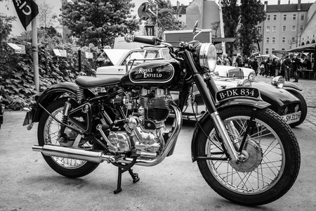 BERLIN - MAY 10, 2015: Motorbike Royal Enfield Bullet 500 Classic. Black and white. 28th Berlin-Brandenburg Oldtimer Day Editorial
