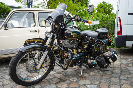 enfield: BERLIN - MAY 10, 2015: Motorbike Royal Enfield Bullet 350 Classic. 28th Berlin-Brandenburg Oldtimer Day Editorial