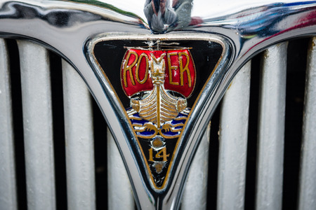 car grill: BERLIN - MAY 10, 2015: Emblem on the grill of a vintage car Rover 14. The 28th Berlin-Brandenburg Oldtimer Day Editorial