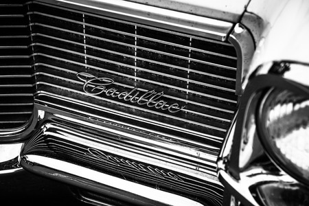 BERLIN - MAY 10, 2015: Fragment of a full-size luxury car Cadillac Sedan De Ville. 28th Berlin-Brandenburg Oldtimer Day
