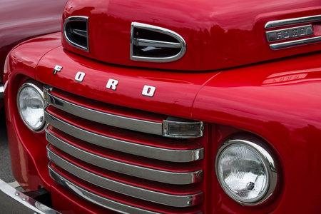 f1: BERLIN - MAY 10, 2015: Fragment of a full-size pickup truck Ford F1 (Ford Bonus-Built), 1948. The 28th Berlin-Brandenburg Oldtimer Day