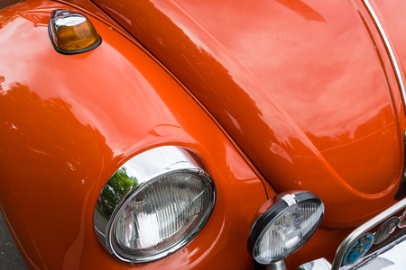 BERLIN - MAY 10, 2015: Detail of an economy car Volkswagen Beetle. 28th Berlin-Brandenburg Oldtimer Day Editorial
