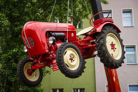 BERLIN - MAY 10, 2015: The tractor Porsche-Diesel Junior. 28th Berlin-Brandenburg Oldtimer Day