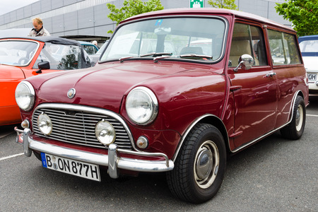 made in portugal: BERLIN - MAY 10, 2015: Small economy car Mini, made by the Industria de Montagem de Automoveis (Portugal), 1977 28th Berlin-Brandenburg Oldtimer Day