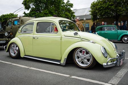 custom car: BERLIN - MAY 10, 2015: Custom version of the classic car Volkswagen Beetle. 28th Berlin-Brandenburg Oldtimer Day Editorial