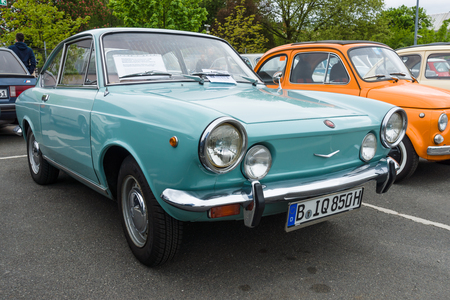 BERLIN - MAY 10, 2015: Vintage car Fiat 850 coupe, 1970. The 28th Berlin-Brandenburg Oldtimer Day Editoriali