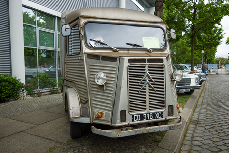 postwar: BERLIN - MAY 10, 2015: Vintage van Citroen H Van (HY 72), 1973. The most popular post-war French model of the van. Years of production: from 1947 to 1981