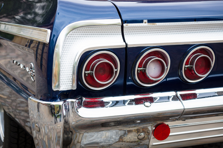 BERLIN - MAY 10, 2015: The rear brake lights of a full-size car Chevrolet Impala SS. 28th Berlin-Brandenburg Oldtimer Day