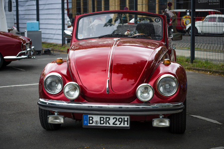 BERLIN - MAY 10, 2015: Subcompact, economy car Volkswagen Beetle Convertible. 28th Berlin-Brandenburg Oldtimer Day