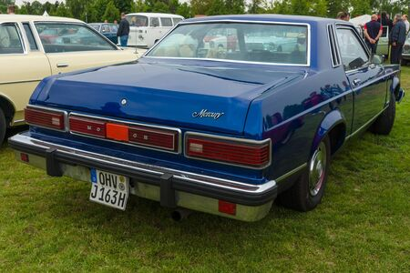 old mercury: PAAREN IM GLIEN, GERMANY - MAY 23, 2015: Compact near-luxury car Mercury Monarch coupe, 1977. Rear view. The oldtimer show in MAFZ.