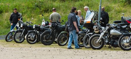 mopeds: PAAREN IM GLIEN, GERMANY - MAY 23, 2015: Various vintage motorcycles, mopeds and scooters on an exhibition field. The oldtimer show in MAFZ.