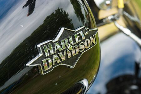 harley davidson motorcycle: PAAREN IM GLIEN, GERMANY - MAY 23, 2015: The fuel tank of a motorcycle Harley-Davidson close-up. The oldtimer show in MAFZ. Editorial
