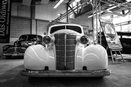 gb: PAAREN IM GLIEN, GERMANY - MAY 23, 2015: Vintage car Chevrolet Master Serie GB Business Coupe. Black and white. The oldtimer show in MAFZ. Editorial