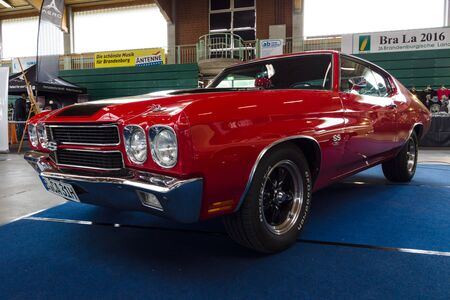 coupe: PAAREN IM GLIEN, GERMANY - MAY 23, 2015: Mid-size car Chevrolet Chevelle SS3454 Hardtop Coupe. The oldtimer show in MAFZ.