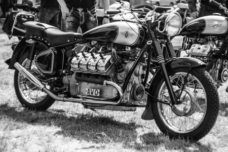 v8: PAAREN IM GLIEN, GERMANY - MAY 23, 2015: Custom bike with 8-cylinder engine (V8). Black and white. The oldtimer show in MAFZ.