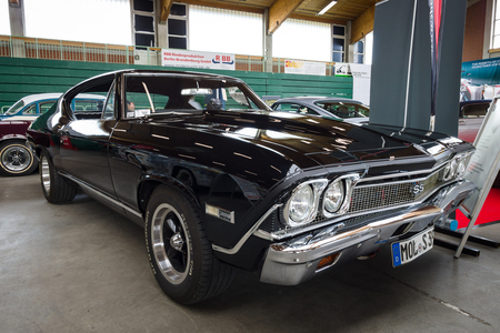 chevrolet: PAAREN IM GLIEN, GERMANY - MAY 23, 2015: Mid-size car Chevrolet Chevelle SS396 Hardtop Coupe. The oldtimer show in MAFZ.