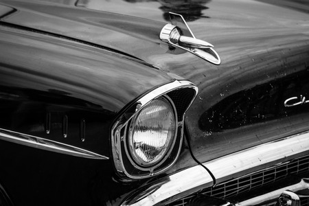 bel air: PAAREN IM GLIEN, GERMANY - MAY 23, 2015: Fragment of a full-size car Chevrolet Bel Air (Second generation). Black and white. The oldtimer show in MAFZ. Editorial