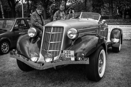 speedster: PAAREN IM GLIEN, GERMANY - MAY 23, 2015: Vintage car Auburn 852 Speedster. Black and white. The oldtimer show in MAFZ.