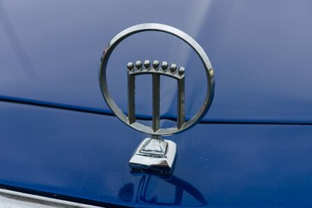 PAAREN IM GLIEN, GERMANY - MAY 23, 2015: Emblem of a car Mercury. The oldtimer show in MAFZ.