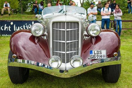 speedster: PAAREN IM GLIEN, GERMANY - MAY 23, 2015: Vintage car Auburn 852 Speedster. The oldtimer show in MAFZ. Editorial