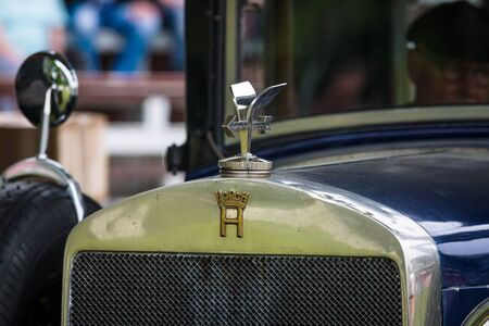 typ: PAAREN IM GLIEN, GERMANY - MAY 23, 2015: Fragment of a vintage car Horch 8 Typ 303. The oldtimer show in MAFZ.