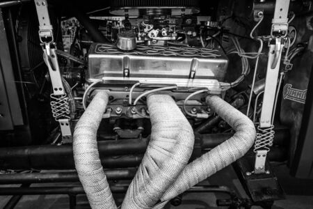 v8: PAAREN IM GLIEN, GERMANY - MAY 23, 2015: Engine (V8) of the custom Hot Rod. Black and white. The oldtimer show in MAFZ. Editorial