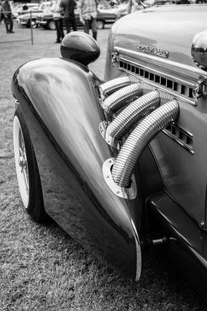 supercharged: PAAREN IM GLIEN, GERMANY - MAY 23, 2015: Fragment of vintage car Auburn 852 Speedster. Black and white. The oldtimer show in MAFZ. Editorial
