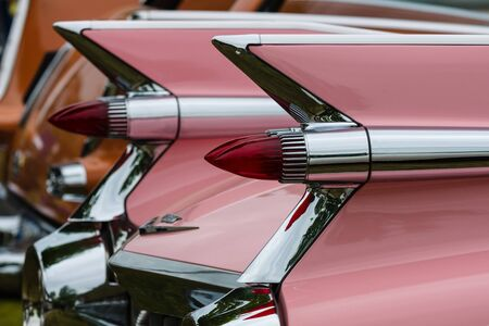 ville: PAAREN IM GLIEN, GERMANY - MAY 23, 2015: Fragment of a full-size luxury car Cadillac de Ville series (First generation). Rear view. The oldtimer show in MAFZ.