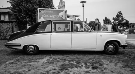daimler: PAAREN IM GLIEN, GERMANY - MAY 23, 2015: Luxury car Daimler limousine DS420, 1986. Black white. The oldtimer show in MAFZ.
