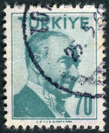mustafa: TURKEY - CIRCA 1957: Postage stamp printed in Turkey, depicted the 1st President of Turkey, Mustafa Kemal Pasha (Ataturk), circa 1957