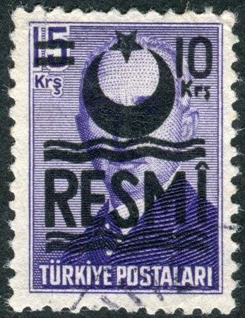 overprint: TURKEY - CIRCA 1948: Postage stamp printed in Turkey (overprint RESMI, 1953), depicted the 2nd President of Turkey, Mustafa Ismet Inonu, circa 1948