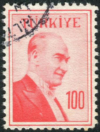 mustafa: TURKEY - CIRCA 1958: Postage stamp printed in Turkey, depicted the 1st President of Turkey, Mustafa Kemal Pasha (Ataturk), circa 1958