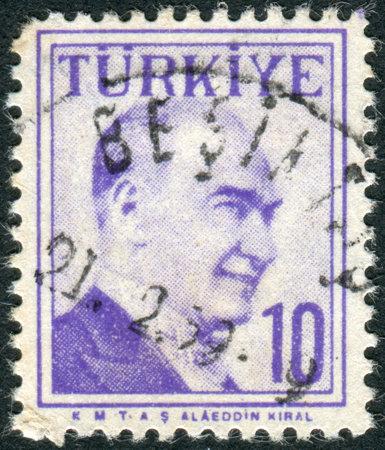 mustafa: TURKEY - CIRCA 1957: Postage stamp printed in Turkey, depicted the 1st President of Turkey, Mustafa Kemal Pasha Ataturk, circa 1957
